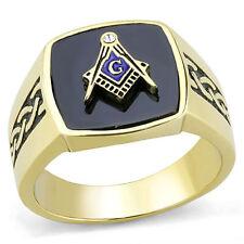 MASONIC MASON GOLD GP BLACK BLUE G  RING SIZE  8 9 10 11 12
