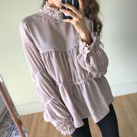 Women's High Collar Loose Pink Long Sleeve Chiffon Blouse T Shirt Blouse Bty15