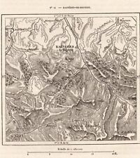 IMAGE 1887 PRINT CARTE MAP BAGNERES DE BIGORRE CAMPAN LUZ LOURDES JUNCALAS