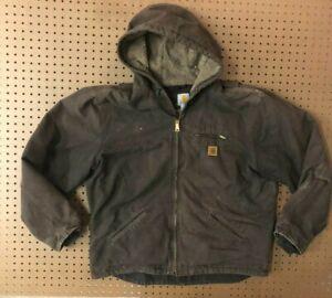 MENS XL - Vtg Carhartt J141 Sandstone Quilted Lined Hooded Jacket