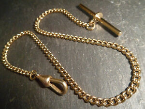 Vintage Yellow Gold Plated Albert Pocket Watch Chain