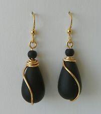BLACK beach glass, sea glass teardrop earring. Handmade w gold wire wrap design.