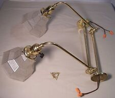 Vtg Sconce Mission Piano Octagon Shade Brass Swivel Fixture Light Pair USA Y99