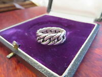 Abstrakter 925 Silber Ring Sterling Ketten Optik Geflochten Unisex Modern Chic