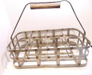 Vintage Galvanized Metal Milk Bottle Carrier Caddy 8 Bottle with Handle