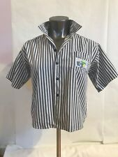 New listing Vintage Ej Gitano Crop Ss Camp Shirt Stripe Blue White Retro Hipster