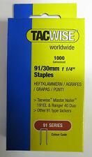 1000 pack TACWISE 91/30mm STAPLES 191EL/Ranger/Duo 40 nailer gun