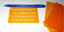 5 Piece - English Alphabet Letter & Number Stencils - Orange Plastic Craft Toy