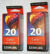 Lexmark 20 Ink Cartridge Lot of 2 Tricolor OEM Genuine New Sealed 15M0120