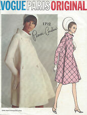 1960s Vintage VOGUE Sewing Pattern B36 COAT (1018) By 'Pierre Cardin'