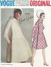 1967 Vintage VOGUE Sewing Pattern B32 COAT (1712) By 'Pierre Cardin'