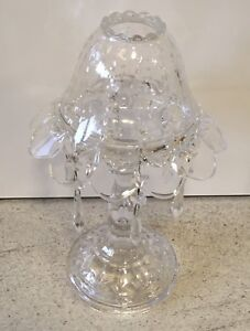 Cut Glass Crystal Lamp Heavy Style Clear Candle Holder Vintage Antique Style