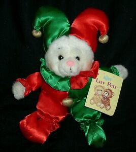 """9"""" VINTAGE RUSS BERRIE HOLLY JOLLY JESTER CHRISTMAS STUFFED ANIMAL PLUSH TOY TAG"""