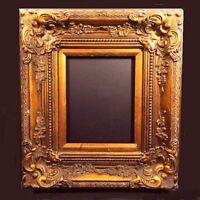 "Vintage ornate picture frame. Gesso w/ gold finish. Deep sculpted sides. 17 X19"""