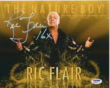RIC FLAIR SIGNED 8x10 WRESTLING PHOTO INSCRIBED 16X PSA/DNA #Y28170 WWF