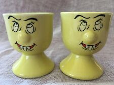 Novelty Yellow Egg Cups X2 Face With Goofy Teeth