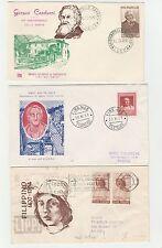FRANCOBOLLI 1957 REPUBBLICA 3 FDC LIPPI + CICERONE + CARDUCCI Z/4206