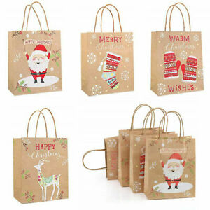 12 Large Christmas Handle Bags Paper Party Shopping Kraft Carrier Present Gift