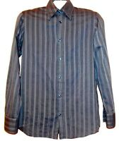 Hugo Boss Men's Gray Striped Cotton  Shirt Size S P/O Good Condition