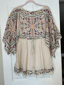 FREE PEOPLE Frida Floral Embroidered Mini Dress XS EUC Boho Festival Dress