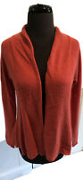 White + Warren 100% Cashmere Salmon Pink Open Cardigan Sweater Women's Sz S