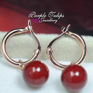18K Rose Gold Plated Red Ball Dangle Hoop Stud Earrings For women
