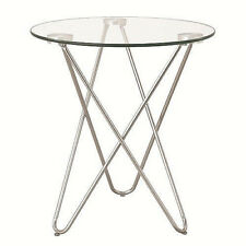 Modern Chromed metal base snack accent end table with clear round glass top