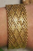 Antique HOBE Gold Tone Wide Mesh Bracelet Signed made in West Germany