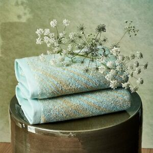 AU LOIN BY YVES DELORME, FRANCE - ORGANIC COTTON TOWEL, AQUA WITH SAND WAVES