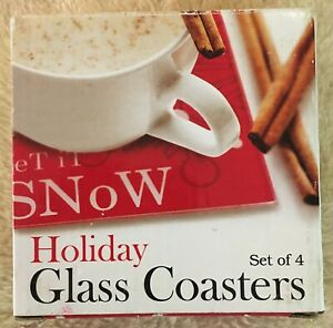 Glass Coasters Set of 4 Holiday Winter Christmas Snow Gifts Plus, Inc. 5669
