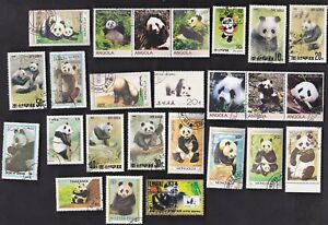 25 PANDA BEARS ON STAMPS