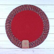 Braided Placemat Centerpiece Red Blue 15 Inch Round