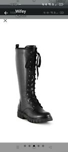 Ladies Leather Chunky Lace Up Boots From Bambina Size 7 eee Wide Fit