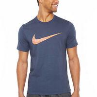 Nike Tee Athletic Cut Men's Big & Tall Dri-Fit Swoosh T-Shirt Thunder Blue