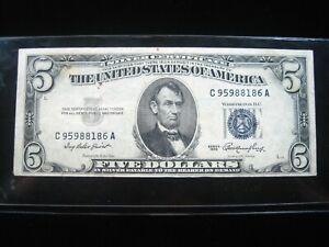 US $5.00 BLUE Seal 1953 C95988186A   # Sharp Circ SILVER CERTIFICATE Money