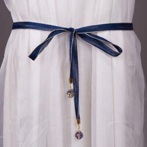 Women Ladies Lace Skinny Crystal Canvas Belt Dress Jeans Decor Corset Waistband