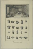 Töpferei TÖPFER Fayencen Original Kupferstich um 1770 Keramik Manufaktur Fabrik