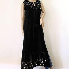 Muriel Brandolini 100% Silk Black Embroidered Full Length Jebala Kaftan Sz Large