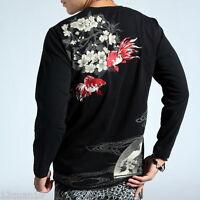 Mens T-Shirt Japanese Pattern Embroidery Long Sleeve Tee Sukajan Goldfish S-XXL