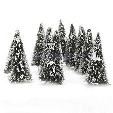 10 Model Cedar Trees w/ Snow Train Railway Park Diorama Winter Scenery HO Scale