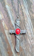 CORAL RED CROSS PENDANT NECKLACE -ANTIQUE SILVER PLATE MADE IN CZECH