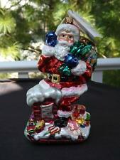 """Mwt Christopher Radko Santa Claus Stop Here Please Ornament Atop A Chimney 7.5"""""""