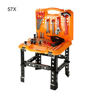 57 Pcs Childrens Kids Work Bench DIY Role Play Toy Set With Tools Drill Xmas