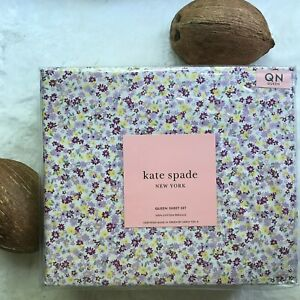 kate spade NEW YORK 100% Cotton Percale Purple Ditsy Floral QUEEN Sheet Set NEW