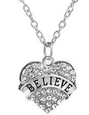 "SILVER 20"" NECKLACE CRYSTAL BELIEVE PRAY women  CHRISTIAN JESUS free GIFT BOX"