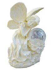 Solar Serenity Sleeping Fairy Statue with Crackle Glass Ball Garden Light,Ivory