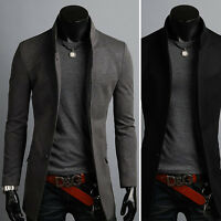 Mens Luxury Slim Fit China Collar Long Blazer Jacket Jumper Coat Outwear Top