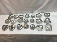 """Lot 21 Vtg Assorted Mini Tart Cake Jello Aluminum Mold Shell Heart Star Bunt 3"""""""