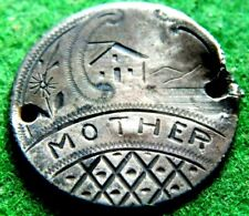 1889 SILVER SEATED LIBERTY DIME LOVE TOKEN 'MOTHER' WITH HOUSE FLOWER WELL MADE