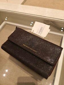 NWT Brunello Cucinelli $1195 Bordo/Shimmer Glass Leather Evening Bag/Big Wallet